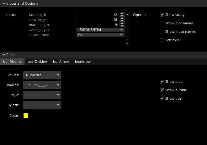ThinkScript: Mechanical MACD Divergence settings